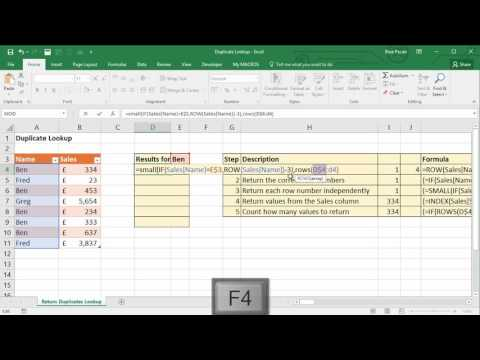Lookup on Each Duplicate Value in Excel