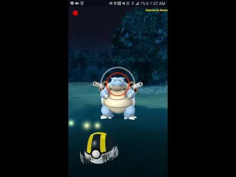 Pokemon Go Epic Blastoise Catch Adventure 1% battery life!