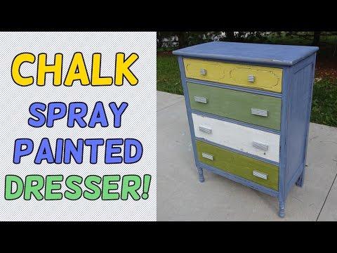 Chalk Spray Paint Dresser Makeover!