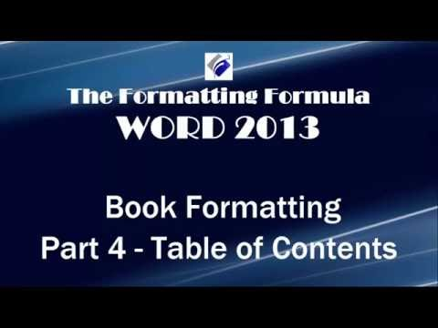 Word 2013   Book Formatting Part 4 Table of Contents