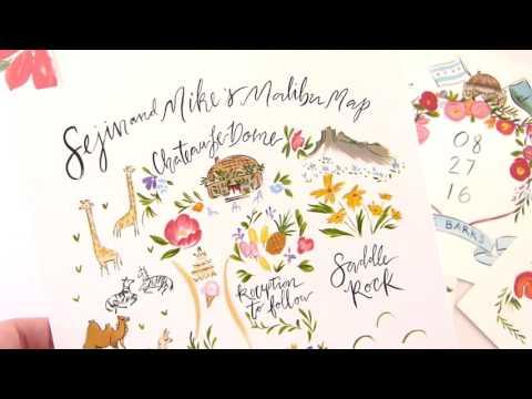 Sejin and Mike: Malibu Wedding Stationery and Artwork
