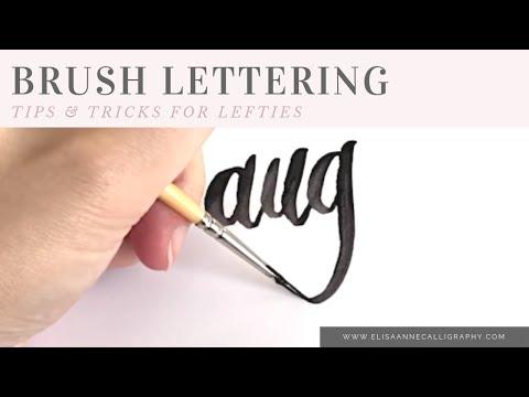 Left Handed Brush Lettering, Modern Brush Lettering    DIY