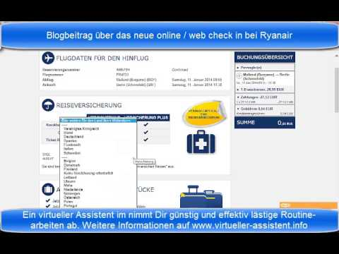 online check in / web check in bei Ryanair