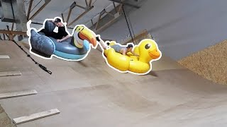 GIANT INFLATABLES VS MEGA RAMP! (RACE)