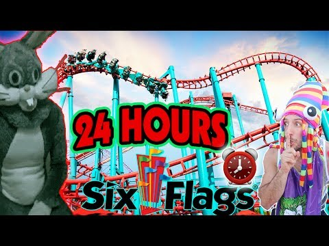24 HOUR CHALLENGE AT WORLDS BIGGEST SIX FLAGS | HIDE & SEEK WORLDS LARGEST SIX FLAGS AMUSEMENT PARK!