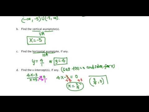Domain, Asymptotes, Intercepts of a rational function