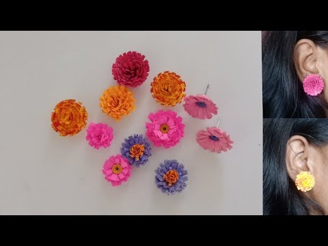 Quilled fringed flowers and fringed flower stud tutorial | க