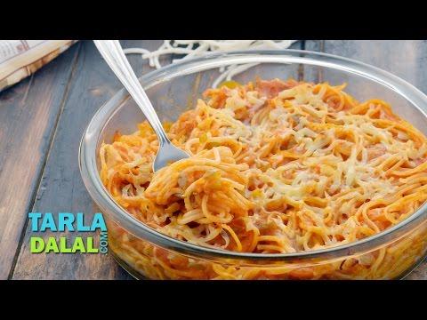 Baked Spaghetti in Tomato Sauce by Tarla Dalal