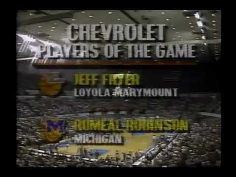 Jeff Fryer NCAA tournament record 11 3s LMU vs Michigan 1990 2nd round