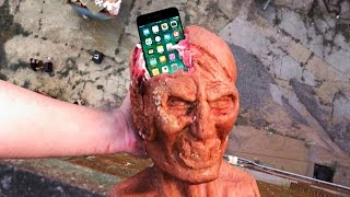 Can a Zombie Head Protect an iPhone 7 from 100 FT Drop Test? - Gizmoslip