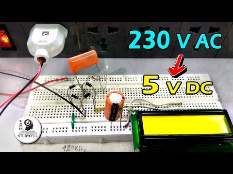 Transfromer less Power Supply on Breadboard 230V AC to 5V DC