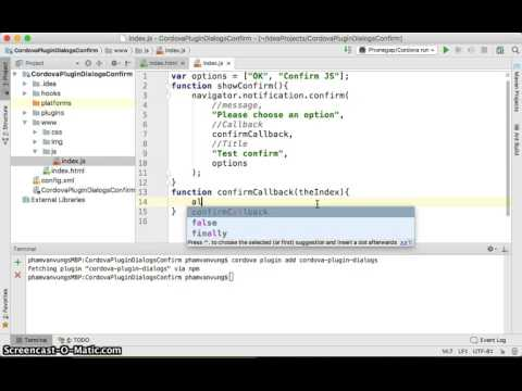 PhoneGap/Cordova Plugin Dialogs - Confirm