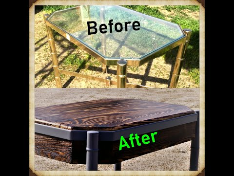 Rebuild an end-table from an old brass-n-glass frame
