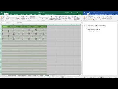 How to remove table formatting in Excel