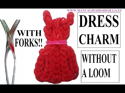How to make a dress emoji/emoticon charm with forks. Without rainbow loom. rubber bands dress