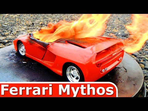 Burning My Ferrari Mythos - The Car is on FIRE - Just a Model Toy Car Burnout
