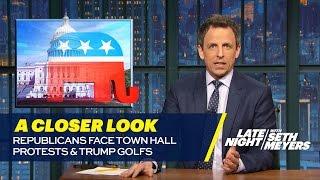 Republicans Face Town Hall Protests, Trump Golfs: A Closer Look