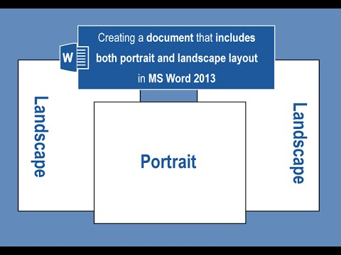 Creating a document that includes both portrait and landscape layout in MS Word 2013