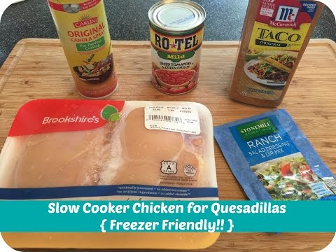 Slow Cooker Chicken for Quesadillas || Freezer Friendly!