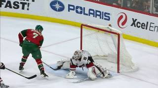Stewart slips one just under Domingue's pad for slick goal