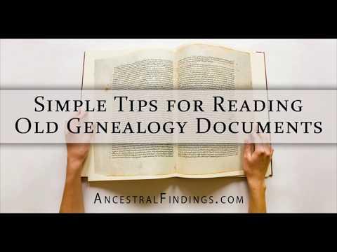 AF-042: Simple Tips for Reading Old Genealogy Documents