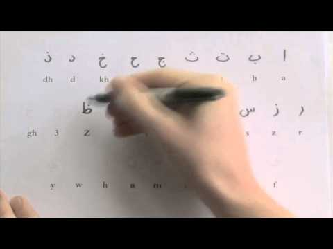 Student learning to write the Arabic alphabet (incl. worksheet)