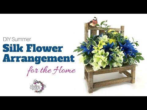 Summer Silk Flower Arrangement Tutorial Using a Bench