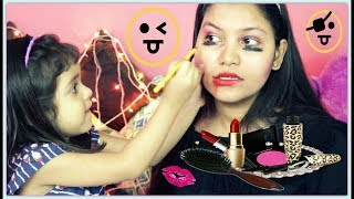 3 year old baby does my makeup/indiangirlchannel trisha/INDIANGIRLCHANNEL TRISHA