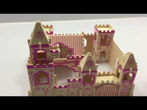 Woodcraft Construction Kit DIY, How to Assembly  a wooden castle A