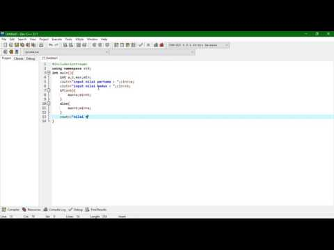 tutorial dev c++ program menentukan nilai maksimum minimum