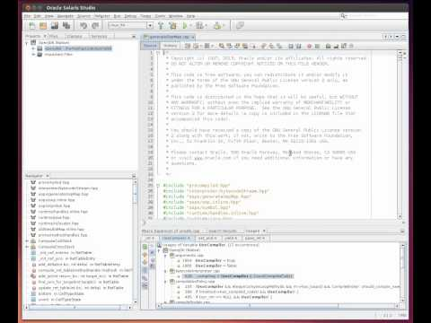 Using the Navigator Window and Breadcrumbs Navigation in the Oracle Solaris Studio IDE