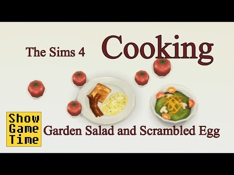 [The Sims 4] Cooking scenes - GardenSalad & Scrambled Egg