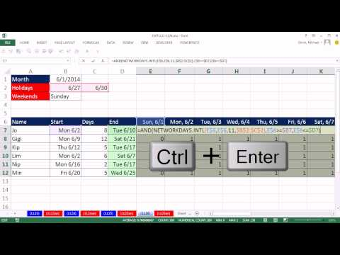 Excel Magic Trick 1126: Populate Calendar with