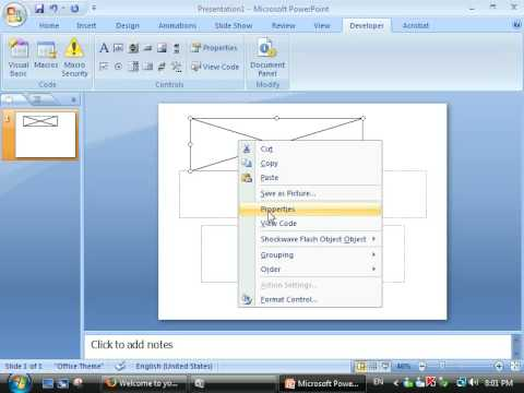 How to insert a Shokwave flash in Microsoft Power Point 2007