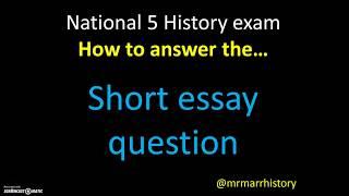 Mr Marr - National 5 History: Short Essay Questions