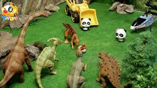 Super Panda Rescues Baby Dinosaur | Dinosaur Rescue Team | Kids Toys | Baby Doll Play | ToyBus