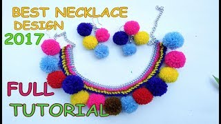 How To Make Beautiful Designs Necklace At Home With Pompom