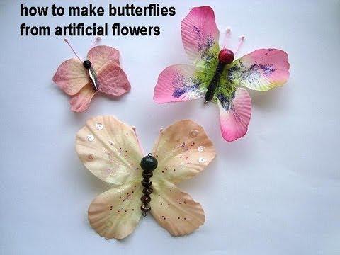 DIY BUTTERFLIES, Make Butterflies from artificial flowers.
