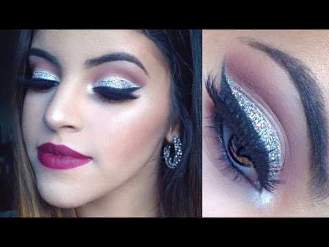 New Years Glam Makeup Tutorial | Glitter Cut Crease | Collab w/ Samantha March!