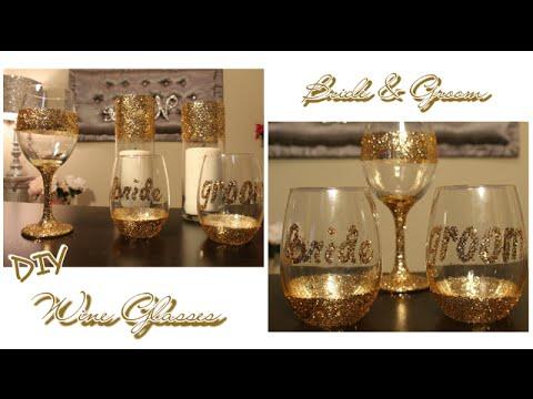 How to make Glitter Wedding Wine Glasses | Bride & Groom toasting glasses | Dollar Tree Wine Glass
