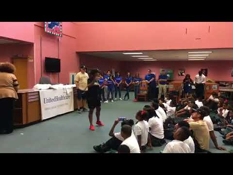 New Orleans Saints show Dr. King Charter students how to stay fit