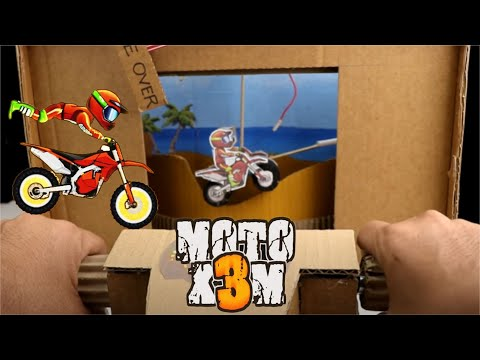 How to Make Motorcycle Racing Moto X3M Game from Cardboard