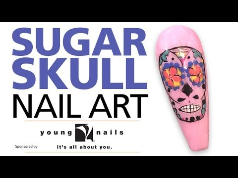 Sugar Skull Gel Nails Using Young Nails Mission Control Gel Paint