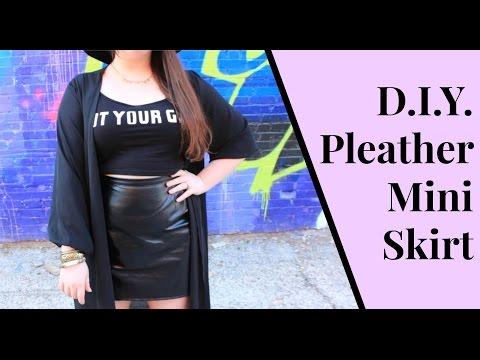 How to Make a High Waisted Pleather Mini Skirt