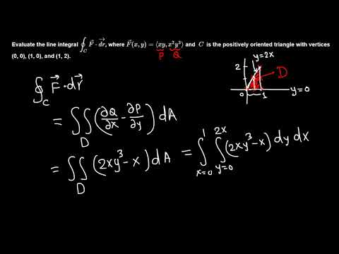 Calc III: Line integral using Green's theorem example 2/5