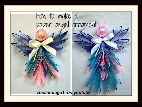 DIY- Folded paper angel ornament, Christmas ornament, Tree ornament