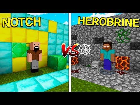NOTCH HOUSE VS HEROBRINE HOUSE - MINECRAFT