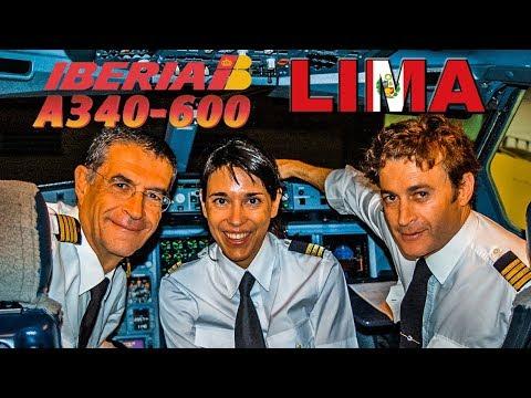 IBERIA A340-600 Cockpit to Lima, PERU  (2008)