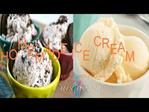 Homemade Ice cream (Vanilla and Oreo) without an ice cream maker.