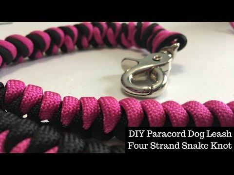 DIY Paracord Dog Leash   4 Strand Snake Knot